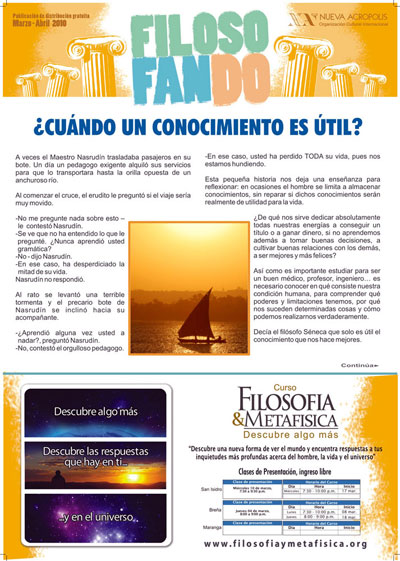 The 'Filosofando' ('Philosophizing') magazine published by NA Peru. This monthly publication is distributed for free in cities across the country. NA has more than 30 centers in Peru.