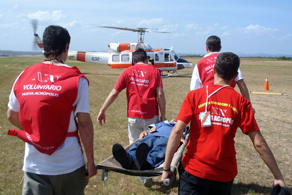 Airplane accident simulation at the International Airport of Punta del Este (Uruguay). Practical exercise by volunteers of New Acropolis Montevideo with the Uruguayan air Force and Red Cross volunteers.