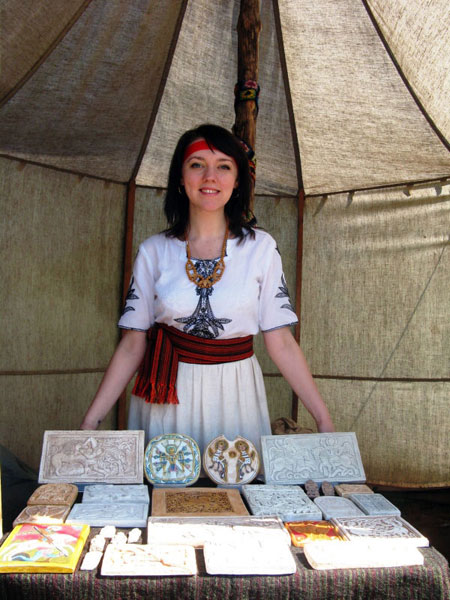 "NA Kiev's Arts and Crafts Studio participates in the ""Kievan Rus 13th Century"" International Festival with reproductions of ancient Slavic art."