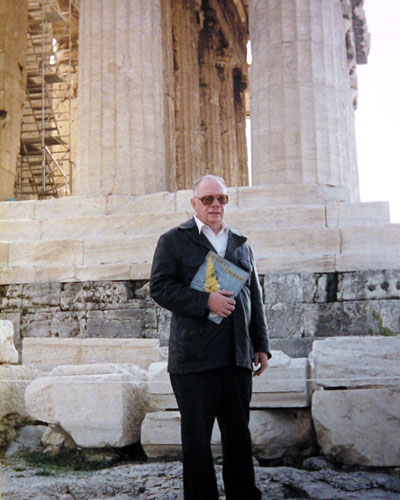 At the Acropolis in Athens, while on a visit to Greece