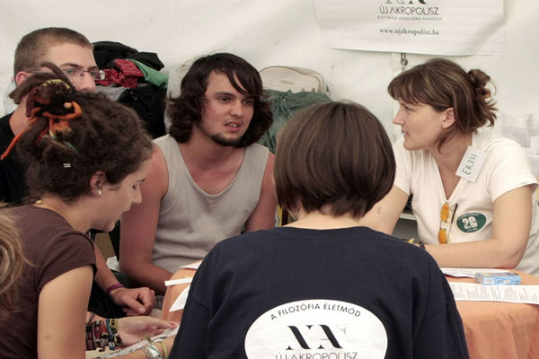 VOLT Music Festival in Sopron, Hungary. NA gives philosophical talks to young participants.